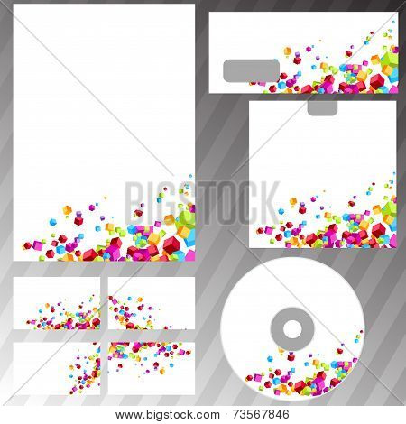 Contemporary Colorful Cube Business Mock-up