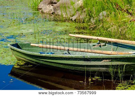 Old Fishing Wooden Rowboat