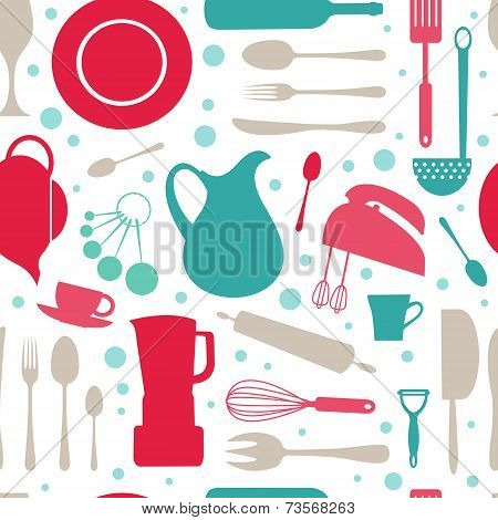 Seamless colorful kitchen pattern