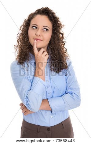 Pensive and amused isolated young businesswoman looking sideways to text.