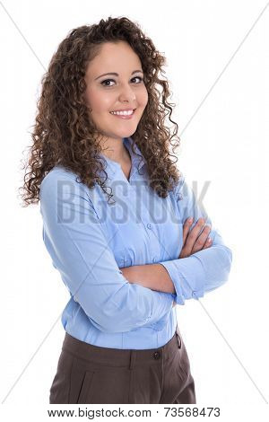 Isolated portrait of a young businesswoman for a candidature or job application.