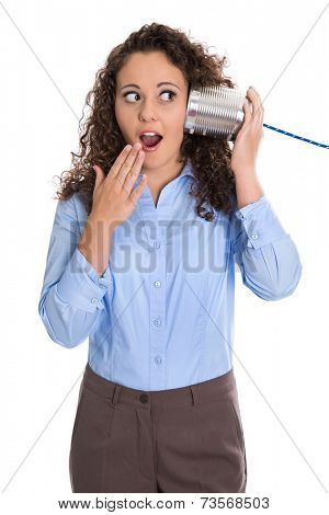 Isolated amazed funny business woman calling with tin can phone.