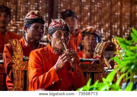 Musician Playing At Traditional Show In Bali