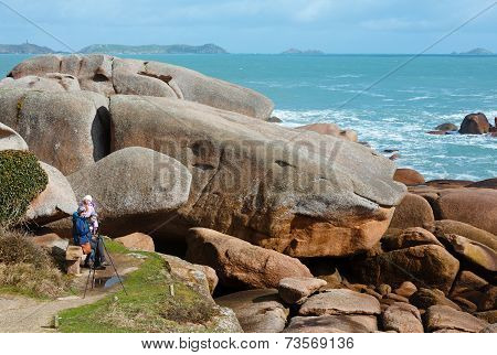 Ploumanach Coast View And Family On Stony Bench (brittany, France)