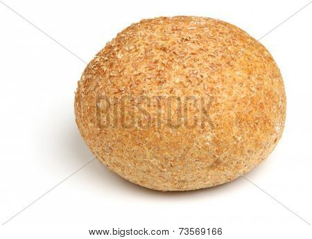 Wholewheat bread roll on white background