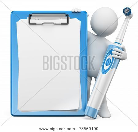3D White People. Dentist With Electric Toothbrush And Blank Clipboard