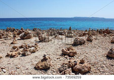 Stony shore of the Mediterranean sea