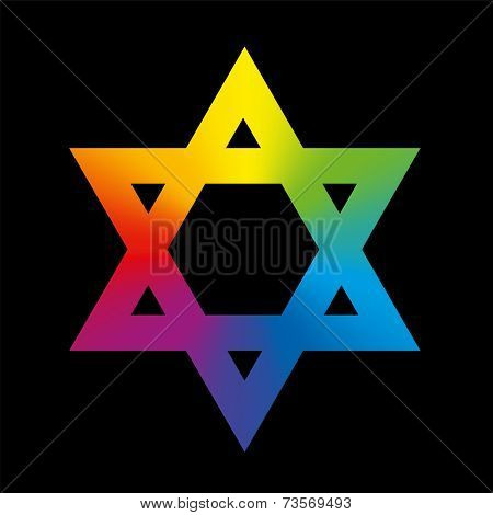 Star of David Rainbow Gradient Black