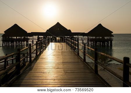 Large Jetty In Tropical Sunset