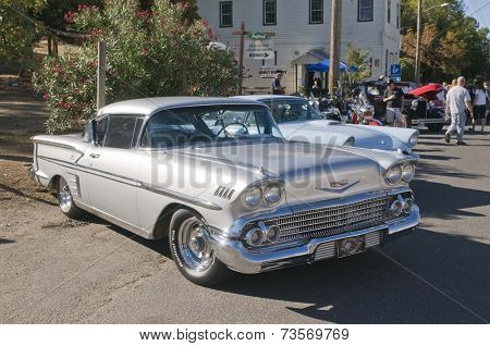 West Point, CA October 4, 2014: Lumberjack day, a typical slice of Americana, a car show with vintage cars, one of the events for the day in this small American Sierra foothills community