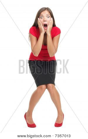 Shocked And Surprised Woman Isolated In Full Length