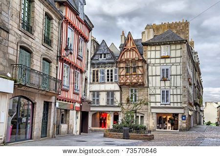 Old Traditional Houses In The Historic Part Of Quimper