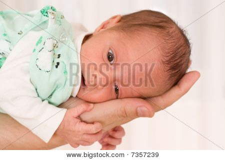 Newborn On His Hand
