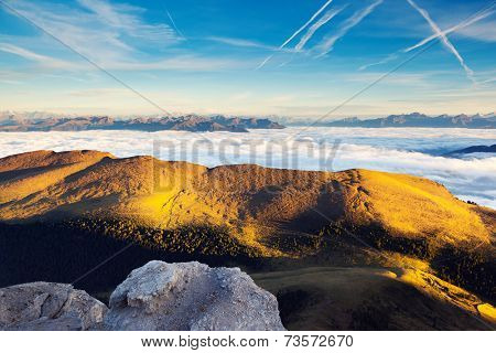 Great view of the foggy Gardena valley. National Park Odle �?�¢?? Geisler. Dolomites, South Tyrol. Location Ortisei, S. Cristina and Selva Gardena. Italy, Europe. Dramatic scene. Beauty world.