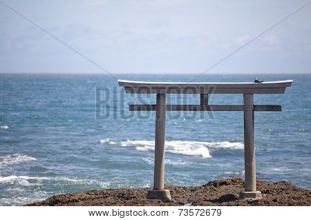 Japan landscape of traditional Japanese gate and se