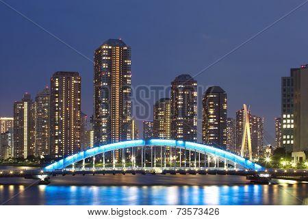 Tokyo, Japan residential high rises at Tsukushima Island.