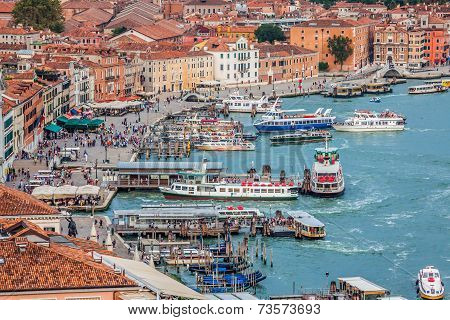 Venice, Italy,august 9, 2013: Venice Sea View From Campanile Di San Marco, Italy