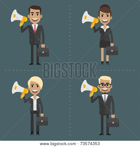 Man and woman business people holding megaphone
