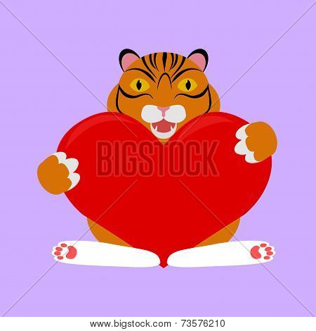 little tiger with red heart