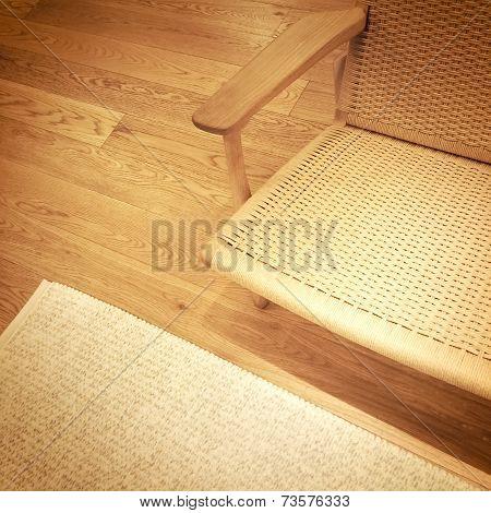 Rattan Chair On Wooden Floor