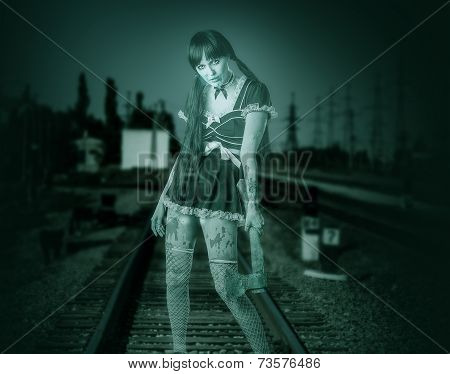 Dirty Transparent Woman Holding Ax