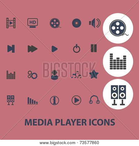 media player black icons, signs, illustrations set, vector