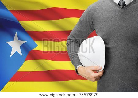 Engineer With Flag On Background Series - Catalonia - Estelada