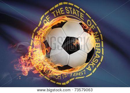 Soccer Ball With Flag On Background Series - Nebraska