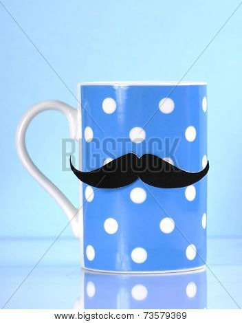 Movember Fundraising For Mens Health Awareness Charity With Mustache On Blue Polka Dot Coffee Mug Cu