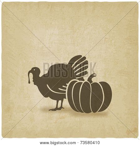 Thanksgiving symbols. turkey and pumpkin