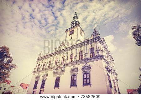 Vintage Retro Filtered Photo Of Town Hall In Chelmno, Poland.