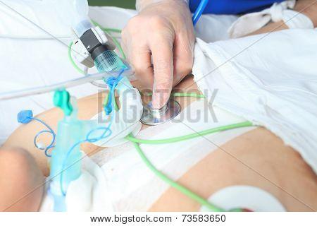 Doctor Stethoscope Listens To Heavy Patient. Macro Photo