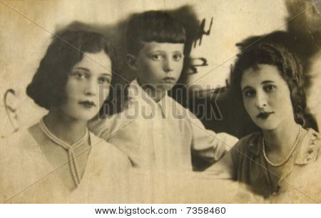 Historical Retro Photo, Beginning Of Xx Century: Two Ladies And Boy