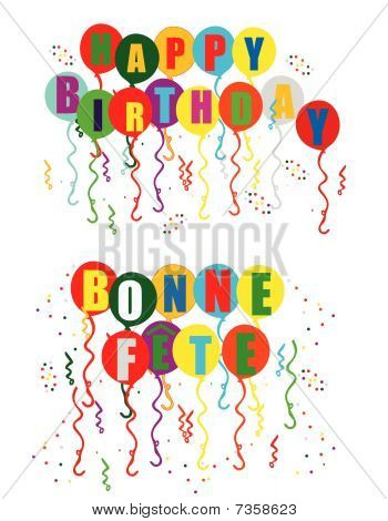 Celebrating your Birthday and Bonne Fete illustration..