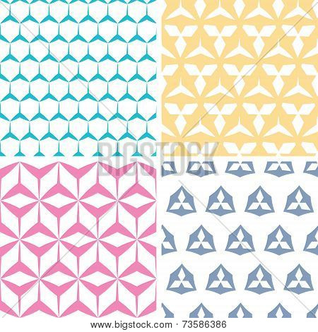 Four abstract geraldic geometric pink seamless patterns set