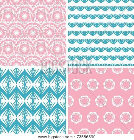 Four abstract pink blue folk motives seamless patterns set