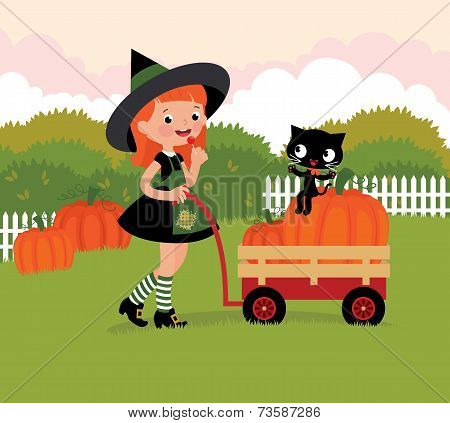 Witch With A Wheelbarrow With Pumpkins