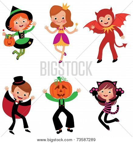 Children In Halloween Costumes