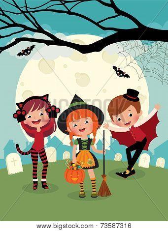 Children On Halloween Party