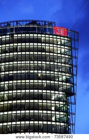 Deutsche Bahn Tower At Potsdamer Platz In Berlin