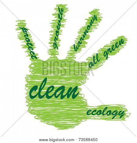 Concept or conceptual onceptual abstract green ecology, conservation word cloud text in man handprint on white background as sketch or scribble