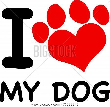 I Love My Dog Text With Red Heart Paw Print