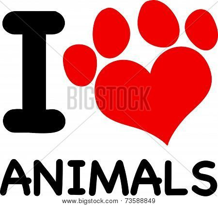 I Love Animals Text With Red Heart Paw Print