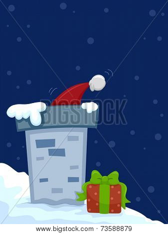 Illustration Featuring a Christmas Hat Partly Concealed by a Chimney