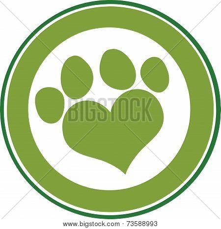 Love Paw Print Green Circle Banner Design