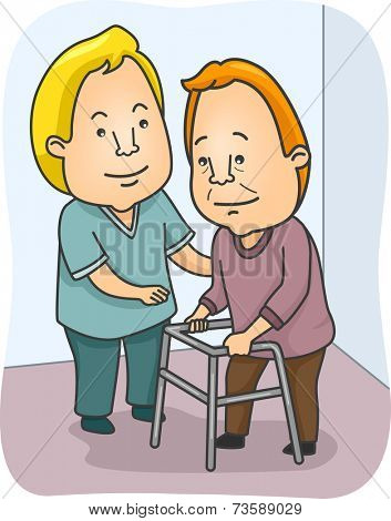Illustration Featuring a Caregiving Assisting an Old Man