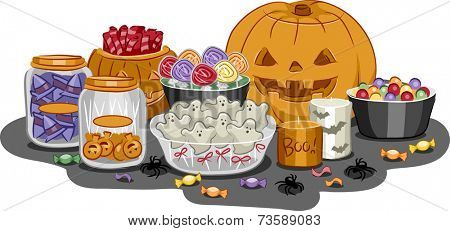Illustration Featuring a Wide Variety of Halloween Treats