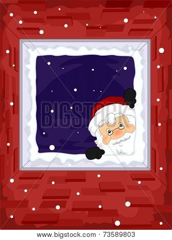 Frame Illustration Featuring Santa Peeking From the Window