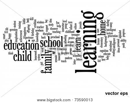 Vector eps concept or conceptual learning education abstract word cloud on white background