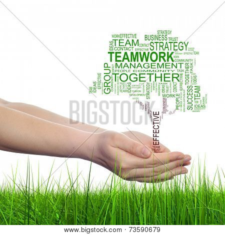 Concept or conceptual business text word cloud on man hand, tagcloud isolated on white background and green grass
